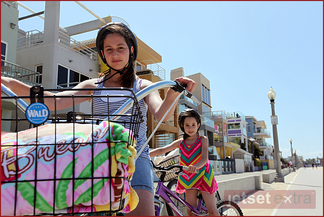 Emma and Olivia getting ready to cruise the bike path in Santa Monica