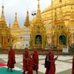 shwedagon pagoda monk walk