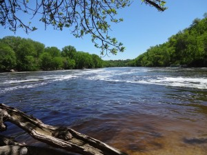 Confluence of the Mississippi River and Minnehaha Creek in Mineapolis Minnesota