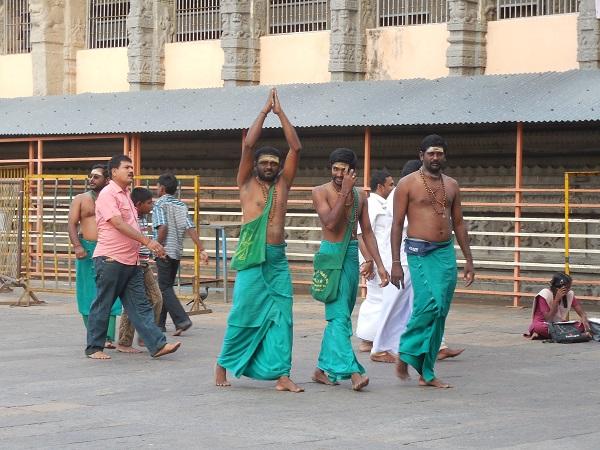 Devotees of Lord Muruga  in Green Dhotis at Thiruvannamalai Temple