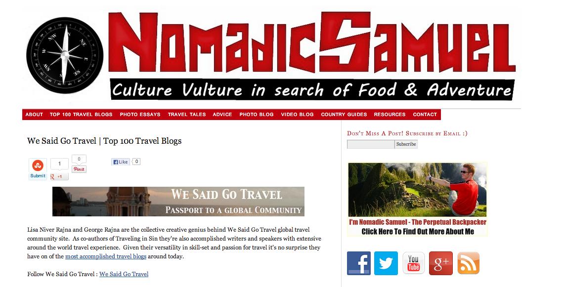 nomadic samuel top 100 wsgt Sept 2013