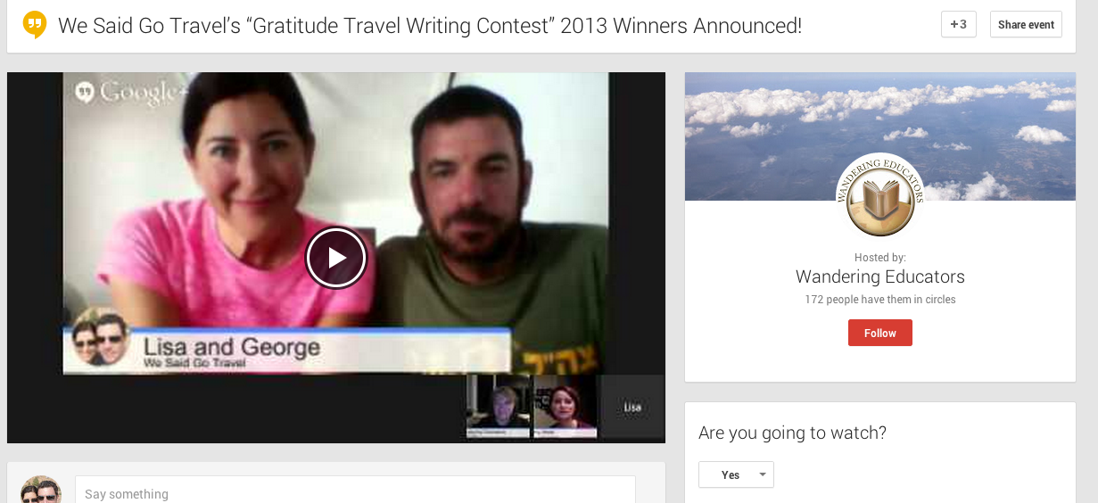 We Said Go Travel gratitude 2013 google hangout