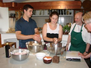 Under Andrea's watchful instruction, we prepared the Panzanella salad
