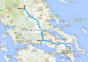 Map Athens - Meteora