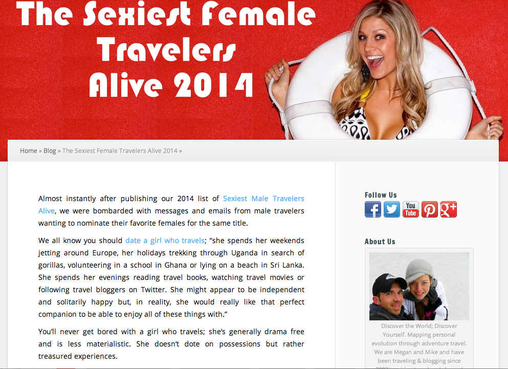 Sexiest Female Travelers Alive 2014