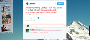 Matador U jan 2015 tweet about We Said Go Travel Writing Competition