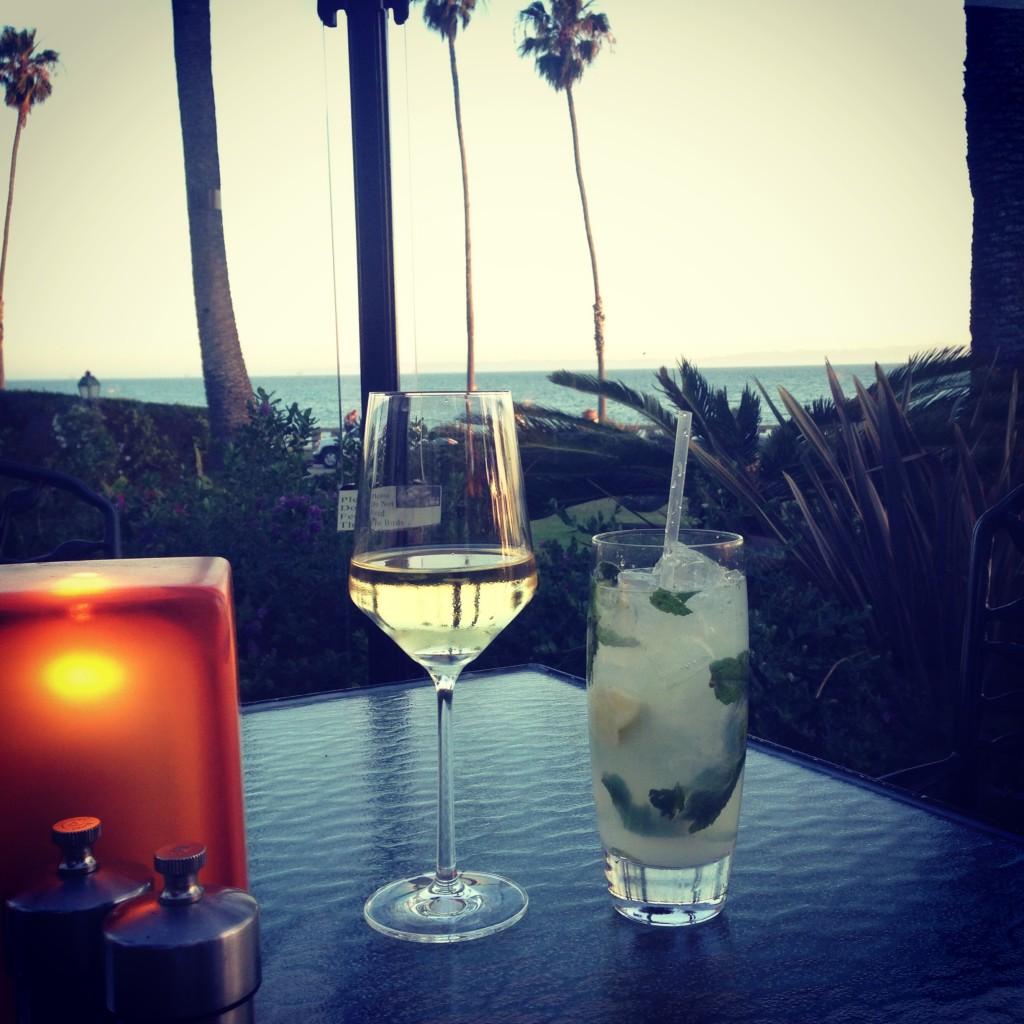 Drinks at Bella Vista, overlooking the ocean