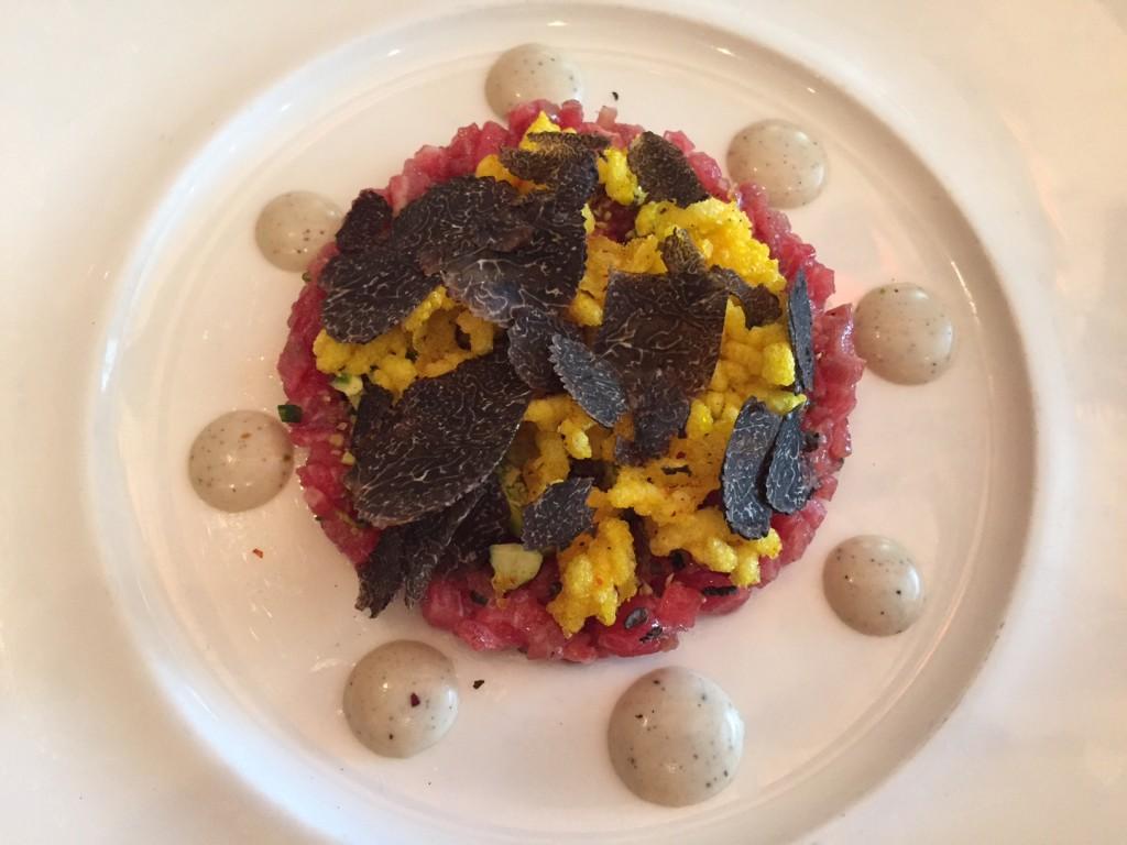 Steak Tartare with black truffles at Bistro du Midi. (Photo by Scott Bridges)