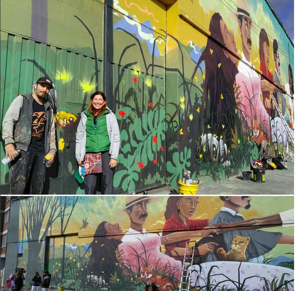 Lisa Niver exploring local street art in Bogota, Colombia