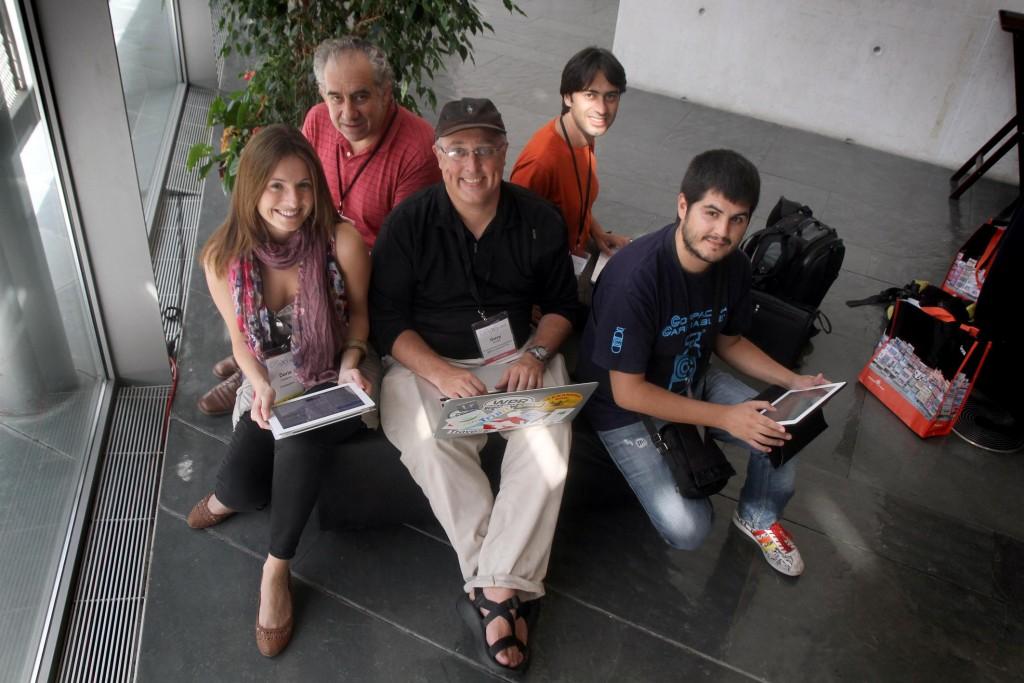 GIRONA( GIRONES ) CONGRESO TBEX 2012 DE BLOGGERS EN EL AUDITORIO DE GIRONA , DE IZQDA A DER IMAGEN DORIS CASARES, JOSE LUIS SARRALDE, GARY ARNDT, QUIQUE CARDONA Y PAU GARCIA CORTES 21-09-12 FOTO JOAN CASTRO/ICONNA