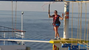 Lisa Niver on the Sky Course over the Sea on Carnival Breeze: Do you DARE me?