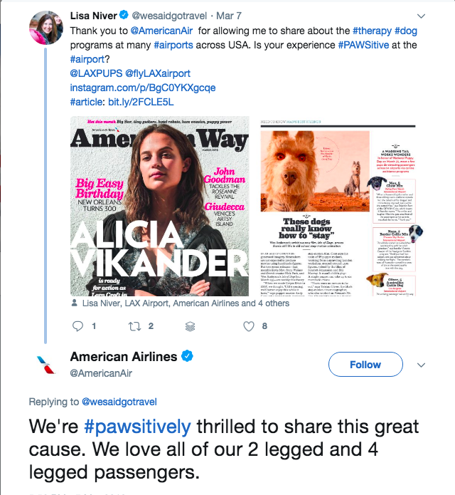 American Airlines Tweet about Lisa Niver's article