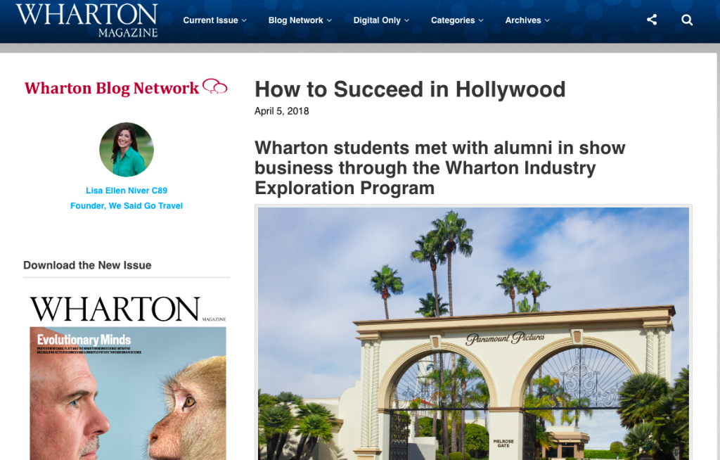 Lisa Niver writes for Wharton Magazine about Paramount Studios