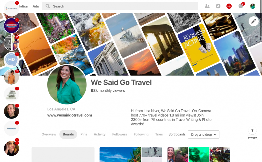 We Said Go Travel has over 98000 views a month on Pinterest