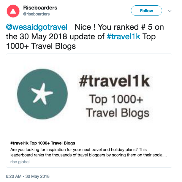 Lisa Niver is #5 on top 1000 Travel blog List