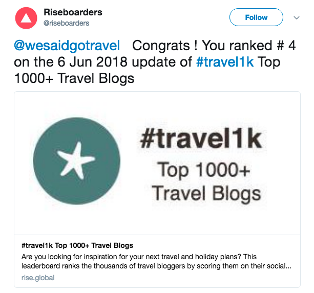 YAY We Said Go Travel is #4 on Top 1000 Travel Blog List June 2018