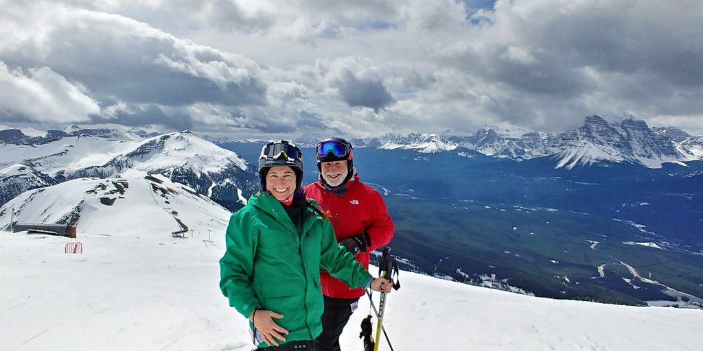 Lisa Niver skiing at Lake Louise with Serge Metikosh