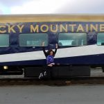 Lisa Jumping for JOY rocky Mountaineer