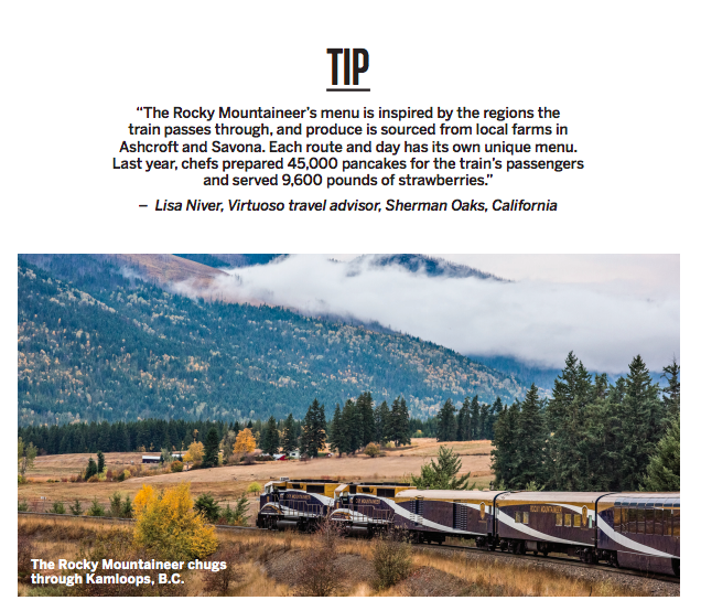 Lisa Niver Virtuoso Advisor in Virtuoso Life Magazine about Rocky Mountaineer
