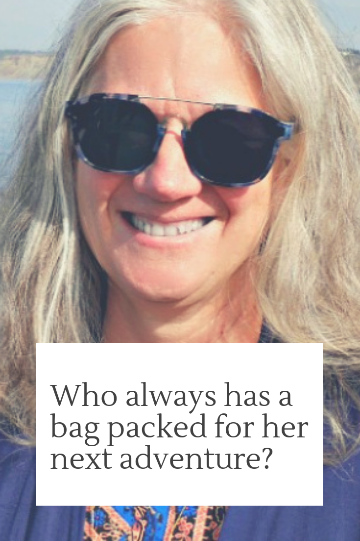 Who always has a bag packed for her next adventure? The Yums & The Travelers Way's Mary Jo Mazanares