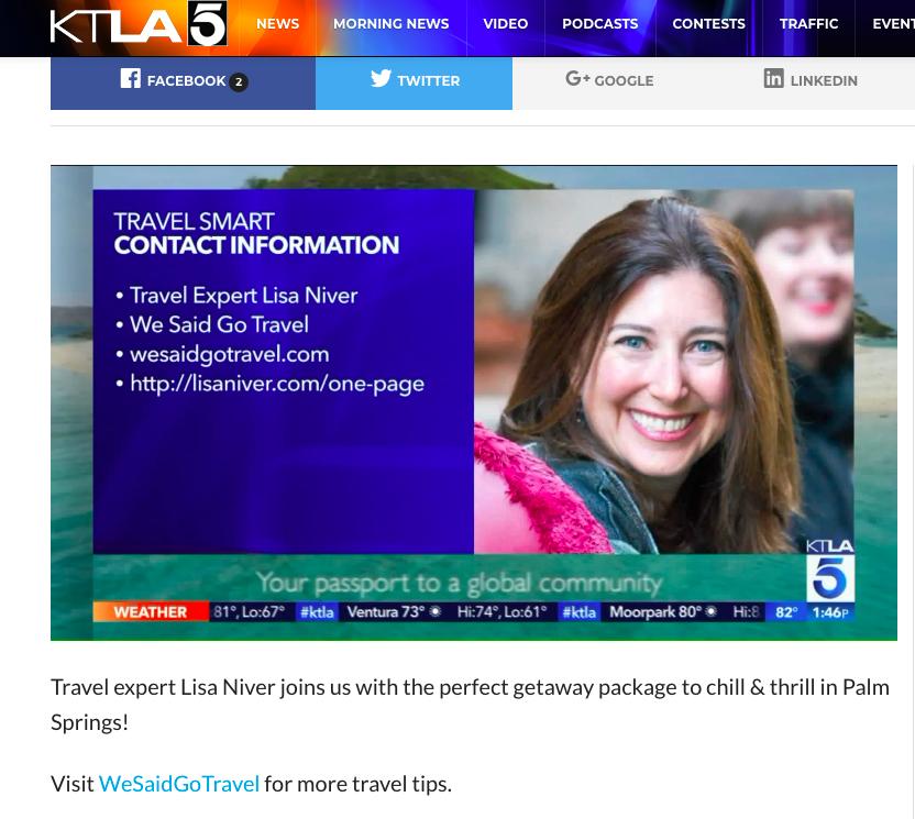 Lisa Niver is a Travel Expert on KTLA TV in Los Angeles