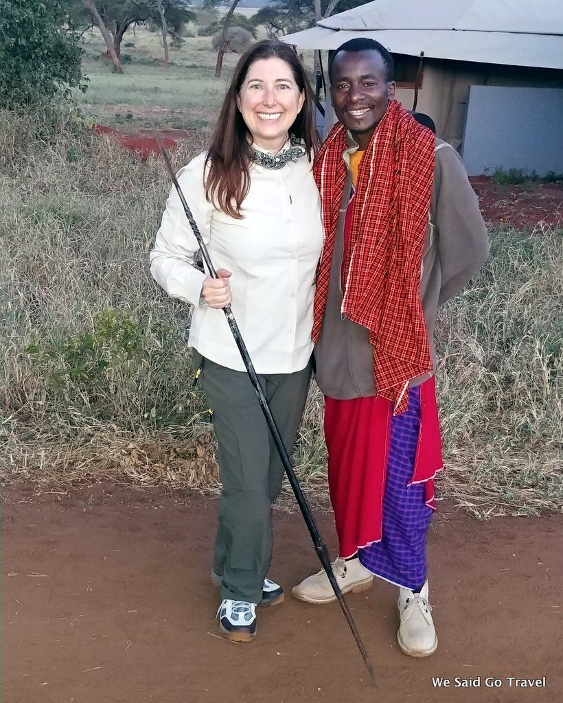 Lisa Niver with Maasai Warrior Sanctuary Swala