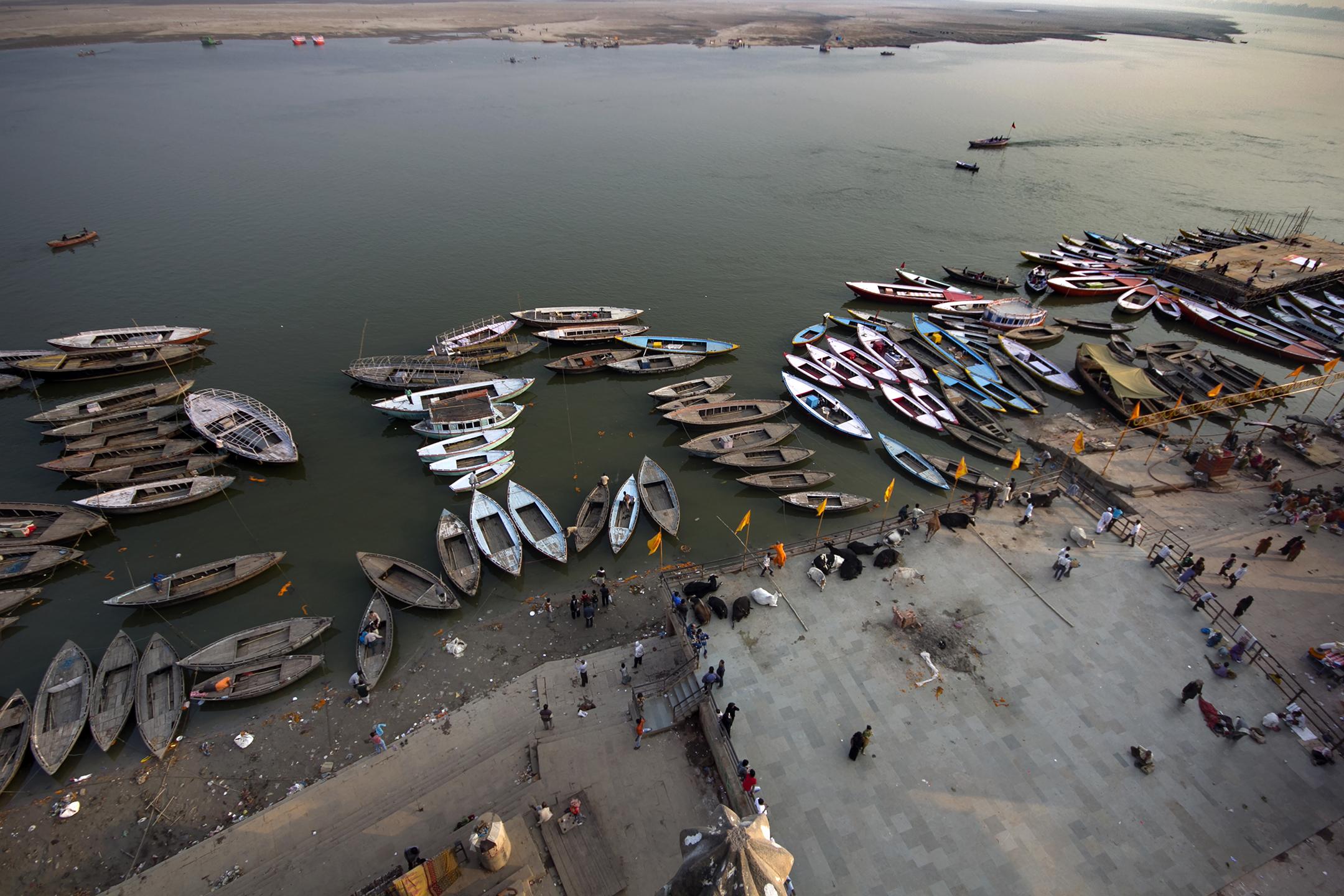 """""""Boat Bank"""" Varanasi, India."""