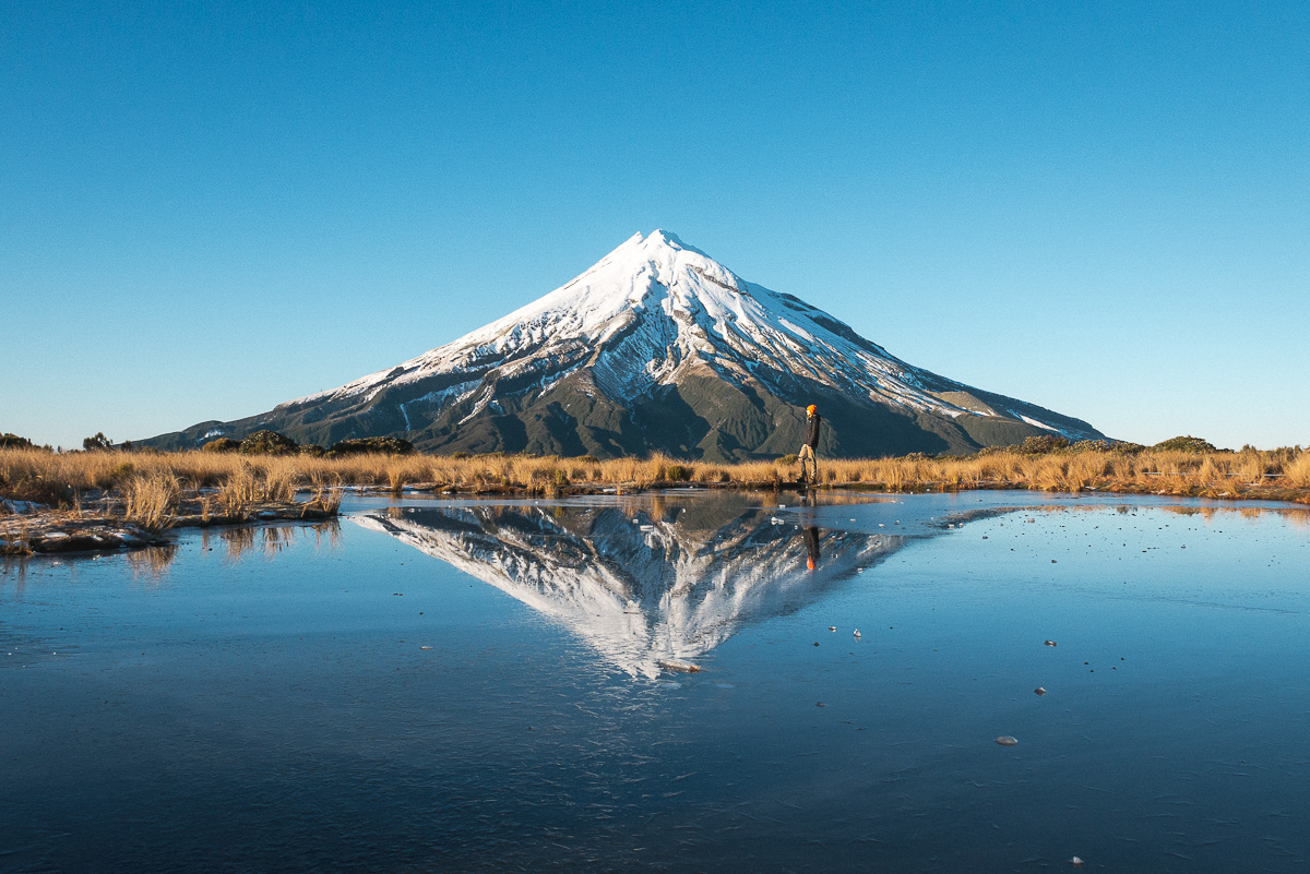 Reflections at Mt Taranaki in New Zealand