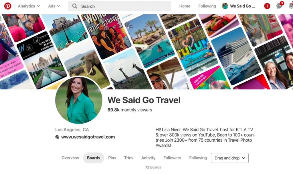 We Said Go Travel has 89000 monthly views on Pinterest
