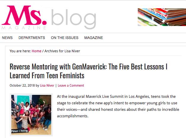 Ms. Magazine blog by Lisa Niver