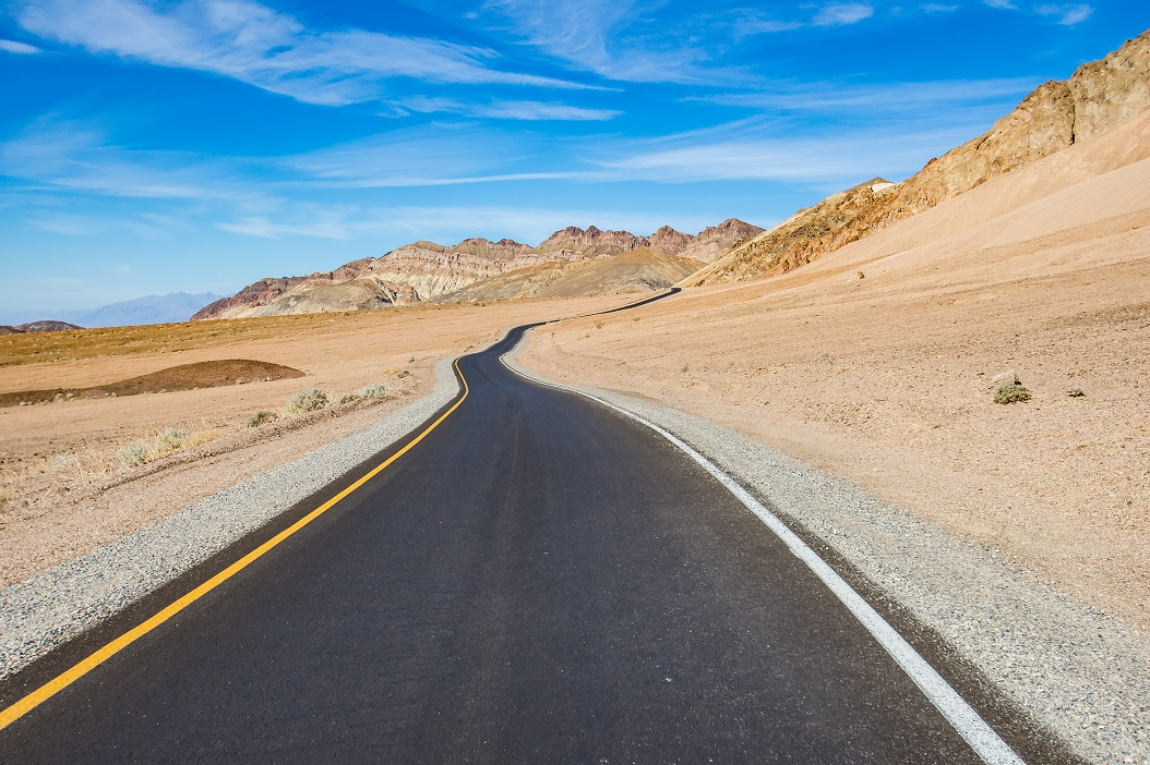 Driving in Death Valley, CA, USA