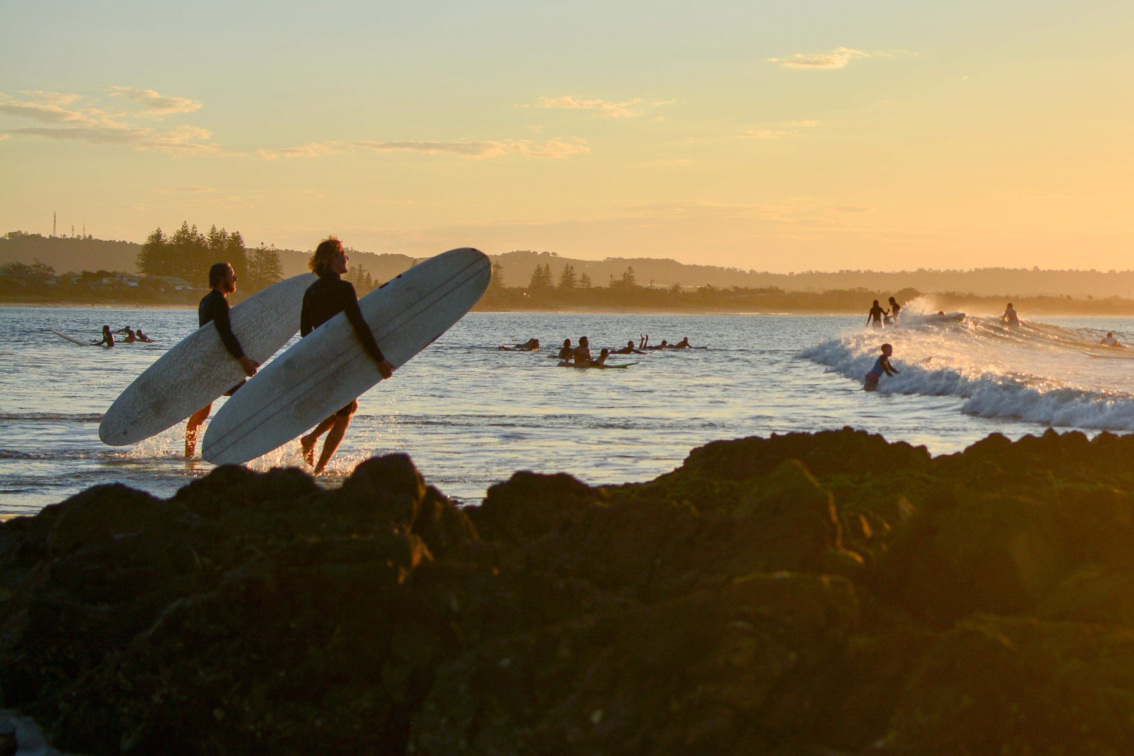 Surfers in Byron Bay, Australia