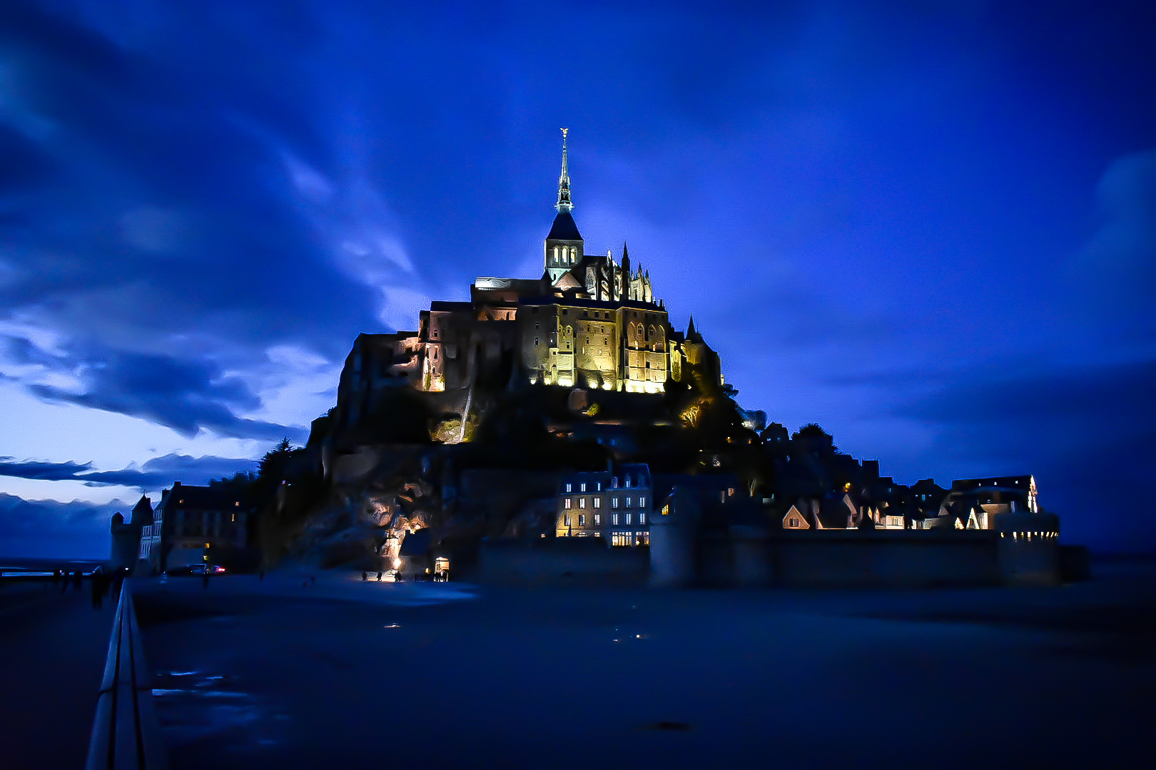Le Mont Saint Michel at night with low tide: France