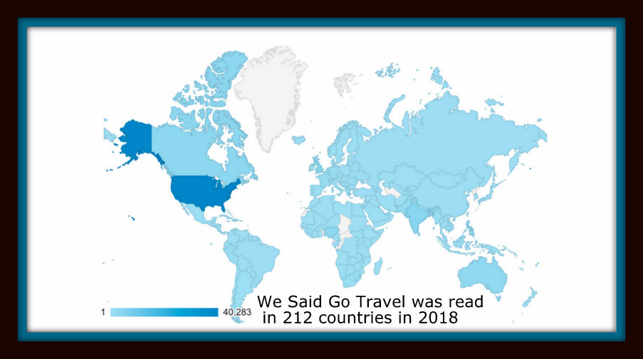We Said Go Travel was read in 212 countries in 2018