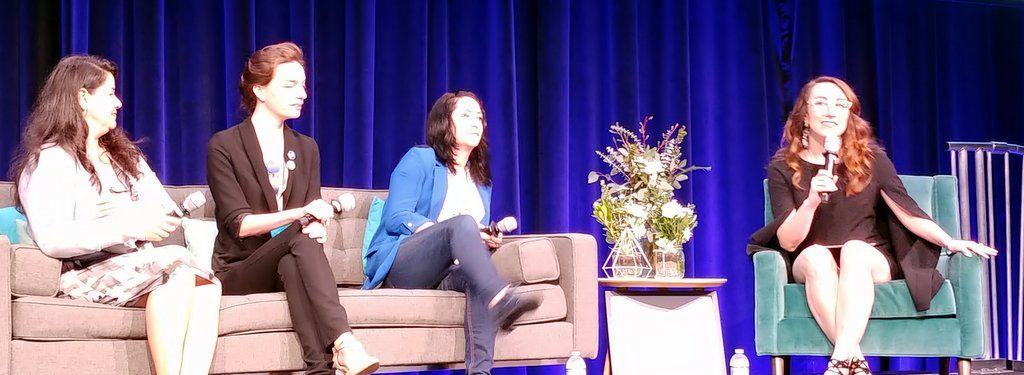 Carrie Shaw speaking at Google International Women's Day 2018 with Natalie Villalobos, founder of Women Techmakers