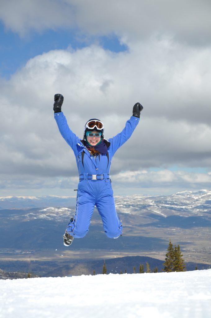 Lisa Niver jumping for joy at Park City, Utah.
