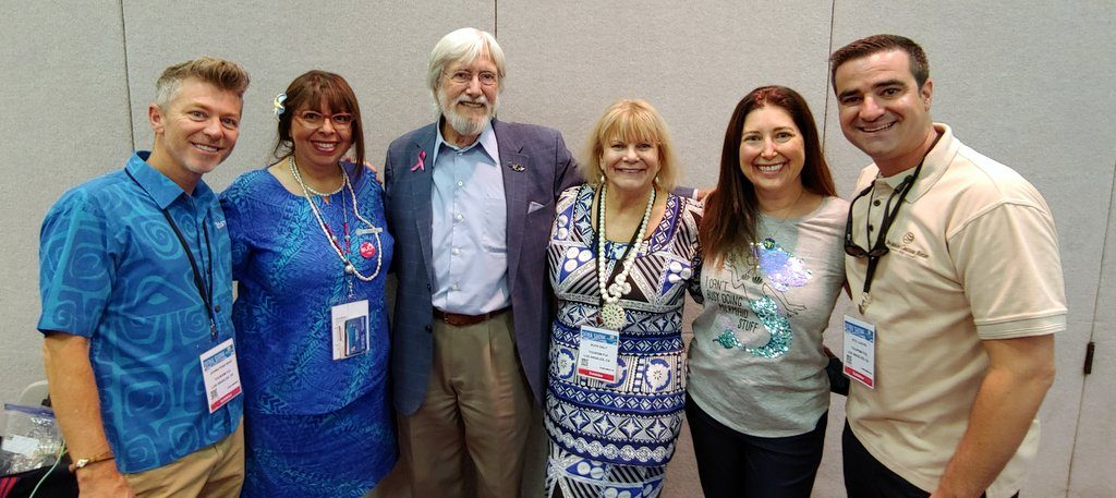 Jean Michel Cousteau at DEMA 2018 with Lisa Niver