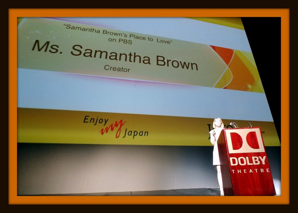 Samantha Brown speaking to JNTO at Dolby Theater