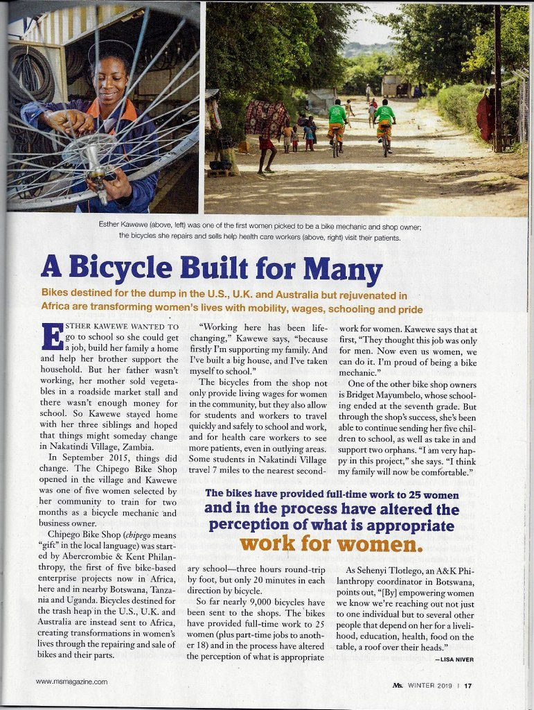 African Bike Project by Lisa Niver in Ms. Magazine Jan 2019