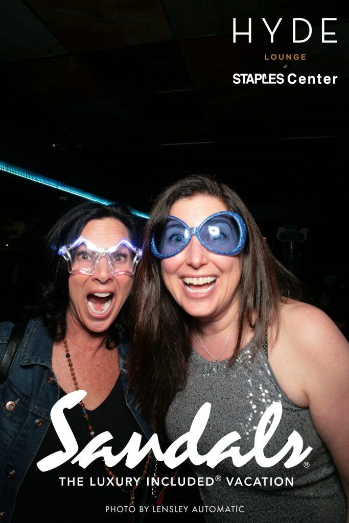 Lisa Niver, We Said Go Travel, and Emily Kaufman, The Travel Mom, at the Elton John Concert with Sandals Resorts