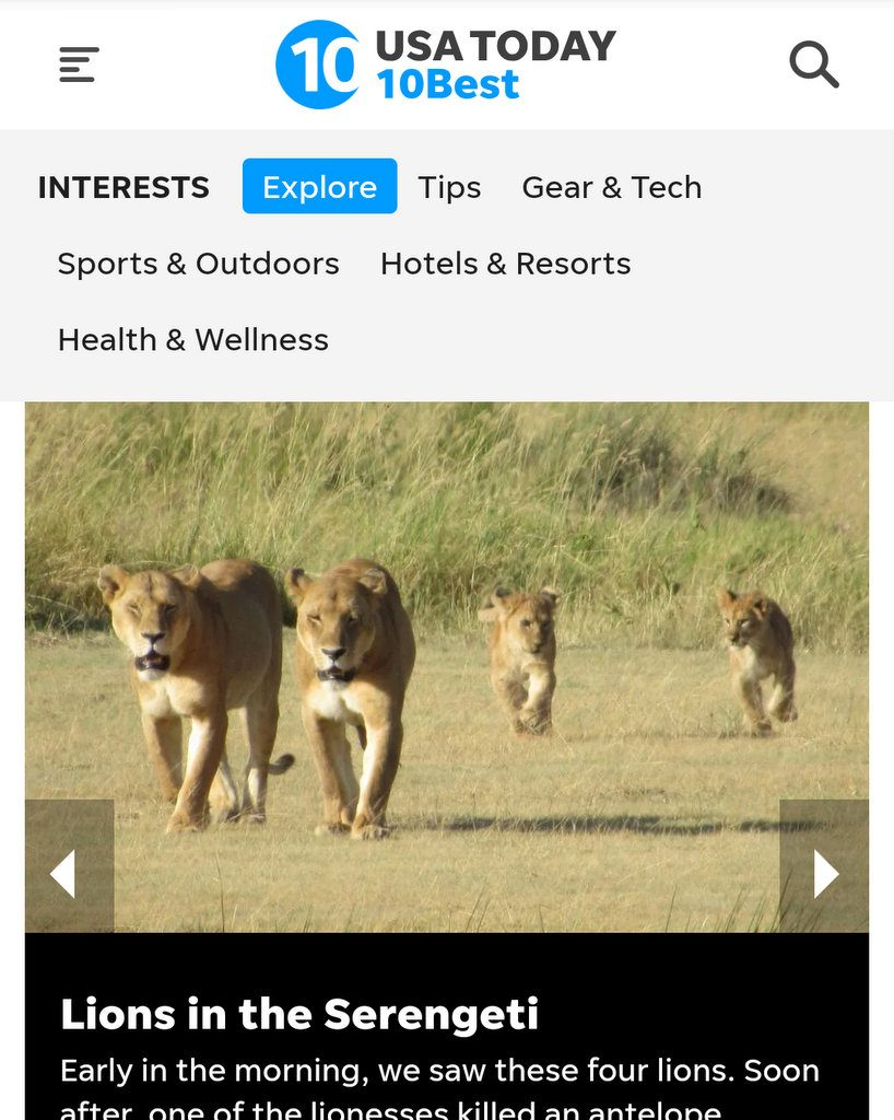 USA Today 10best Niver A&K African safari