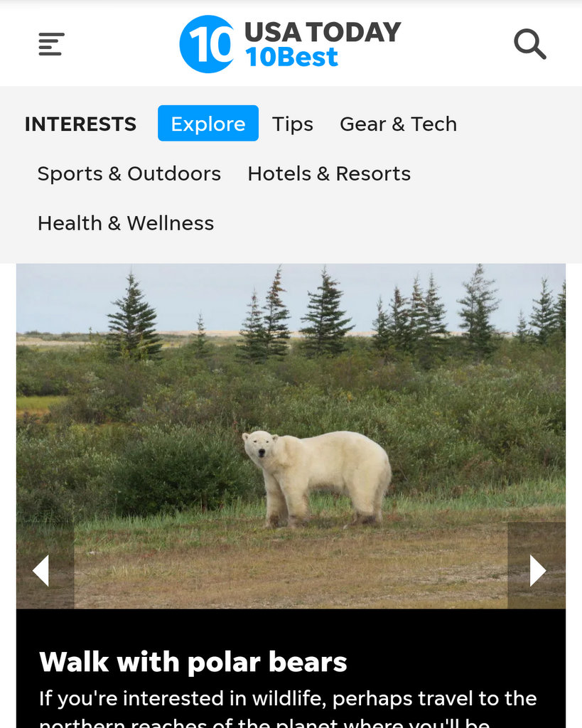 USA Today 10best article by Lisa Niver about Polar Bears and Churchill WIld