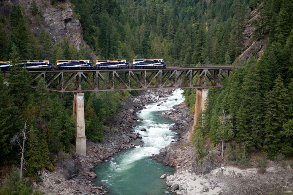 Rocky Mountaineer Train on bridge by Rocky Mountaineer