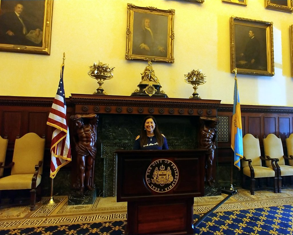 Lisa Niver in the Mayor's Reception Hall at City Hall, Philadelphia