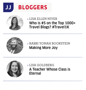 Lisa Niver #5 on top 1000 Travel Blogger list in jewish Journal