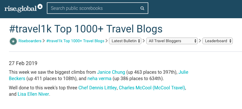 Lisa Niver is #3 on the TOP 1000 Travel Blog list #Travel1K