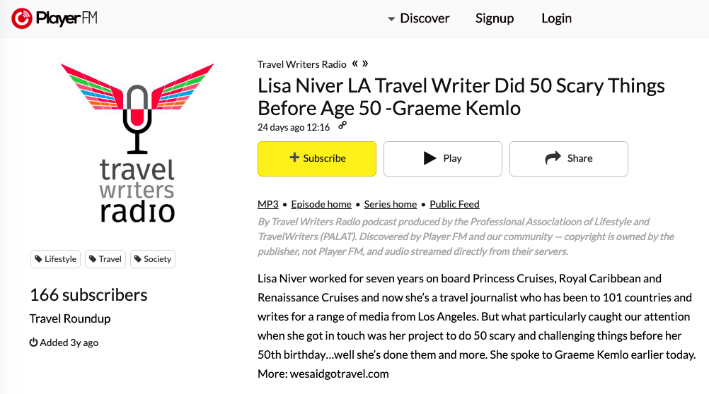 Lisa Niver on Travel Writer Radio Feb 2019