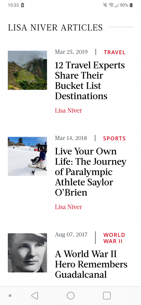 Lisa Niver Three Articles on Saturday Evening Post