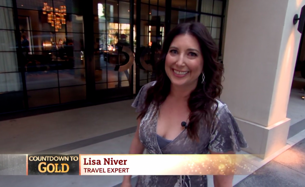 Lisa Niver on KTLA for Oscars 2019 at La Peer Hotel