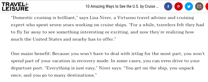 Lisa Niver Cruise and Travel Expert in Travel and Leisure